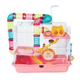 LittleZoo Harvey Explorer 3 Pink Hamster, Mouse, Gerbil Cage