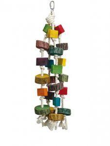 Blocks Medium Wood & Rope Chew Toy