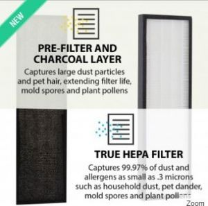 PM 510 Air Purifier Replacement True HEPA & Active Carbon Filter Set (2in1)