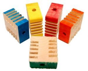 Coloured Small Groovy Blocks - Wood Toy Parts - Pack 10