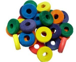 Coloured Wood Chewing Discs - Toy Making Part - Pack 30