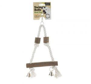 Swing N Bells Natural Wood & Rope Climber